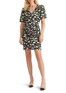 Veronica Beard Janis Ruched Skirt Floral Minidress