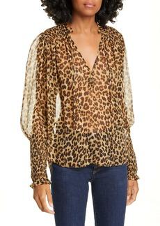 Veronica Beard Jaz Leopard Print Silk Chiffon Blouse