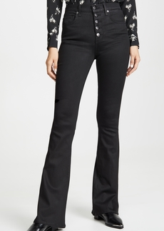 Veronica Beard Jean Beverly High Rise Flare Jeans with Exposed Fly