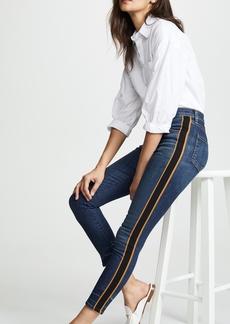"""Veronica Beard Jean Debbie 10 Skinny Jeans with Tuxedo Stripe"""""""