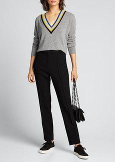 Veronica Beard Jessel V-Neck Wool-Cashmere Sweater