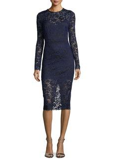 Veronica Beard Jewel-Neck Long-Sleeve Corded Lace Cocktail Dress