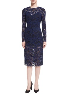 Veronica Beard Jewel-Neck Long-Sleeve Corded Lace Cocktail Dress