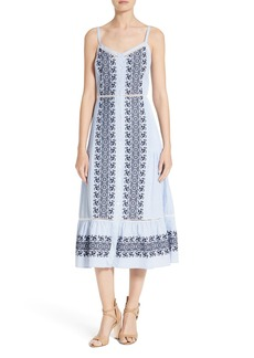 Veronica Beard Joni Embroidered Cotton Midi Dress