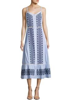Veronica Beard Joni Sleeveless Embroidered Midi Shirtdress