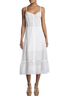 Veronica Beard Joni Sleeveless Embroidered Voile Midi Dress