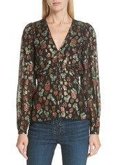 Veronica Beard Joyce Metallic Jacquard Silk Blend Blouse