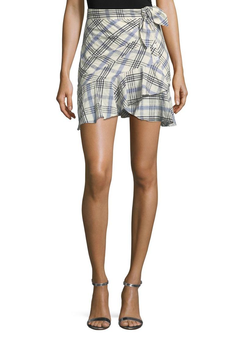 Veronica Beard Kaia Tie-Waist Plaid Mini Skirt