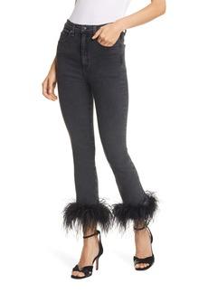 Veronica Beard Kareena Feather Hem Skinny Jeans (Charcoal)