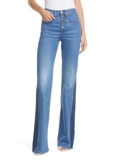Veronica Beard Kiley High Waist Inset Hem Wide Leg Jeans (Two Tone)