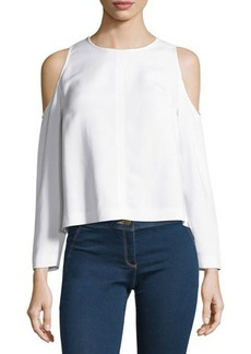 Veronica Beard Knight Boxy Cold-Shoulder Blouse
