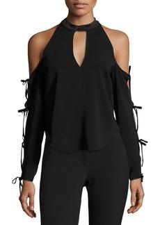 Veronica Beard Lachland Cold-Shoulder Collar Cutout Blouse