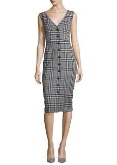Veronica Beard Lark V-Neck Button-Front Plaid Sheath Dress