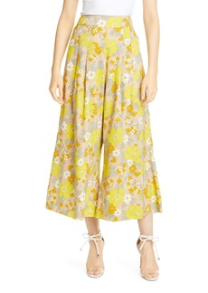 Veronica Beard Leonor Floral Print Linen Blend Crop Wide Leg Pants