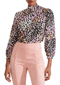 Veronica Beard Lety Pintuck Cheetah Print Stretch Silk Blouse