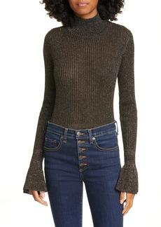 Veronica Beard Lilia Flare Cuff Metallic Turtleneck Sweater