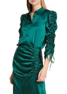 Veronica Beard Lillian Ruched Stretch Silk Satin Blouse