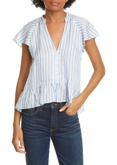 Veronica Beard Maple Flutter Sleeve Stripe Top
