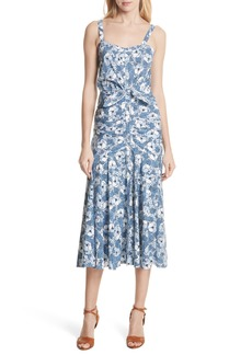 Veronica Beard Marena Ruched Waist Floral Midi Dress