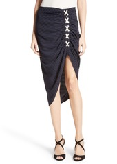 Veronica Beard Marlow Ruched Lace-Up Skirt
