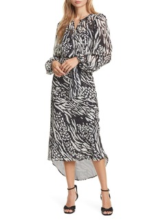 Veronica Beard Mavis Stripe & Spot Print Long Sleeve Silk Dress