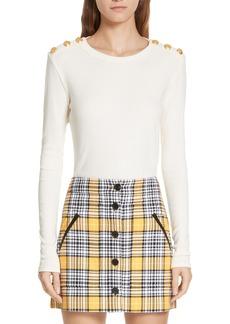 Veronica Beard Mayer Button Shoulder Stripe Top
