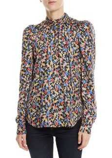 Veronica Beard Mena Gathered Floral Puff-Sleeve Top