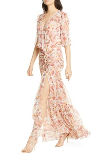 Veronica Beard Mick Floral Metallic Silk Maxi Dress