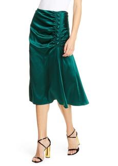 Veronica Beard Minetta Ruched Stretch Silk Satin Skirt