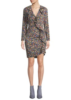 Veronica Beard Minna Micro-Floral Ruffle Long-Sleeve Short Dress