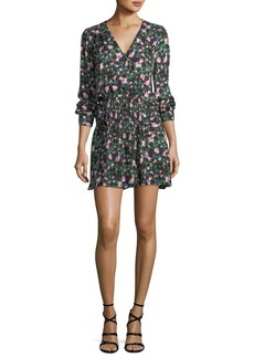 Veronica Beard Naomi V-Neck Long-Sleeve Painted Floral-Print Silk Dress