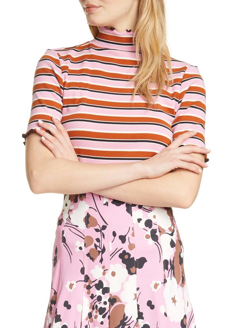 Veronica Beard Nikkie Lettuce Hem Mock Neck T-Shirt