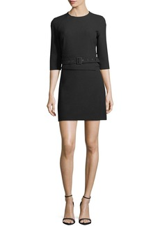 Veronica Beard Nora 3/4-Sleeve Belted Crepe Short Dress