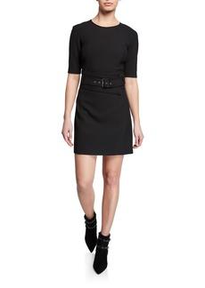 Veronica Beard Nora Short 1/2-Sleeve Belted Dress