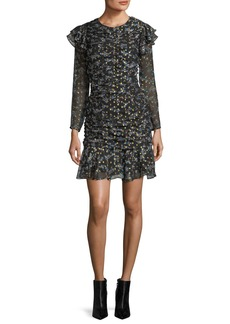 Veronica Beard Parc Jewel-Neck Ruched Floral-Print Mini Dress