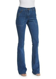 Veronica Beard Patch-Pocket Denim Skinny-Flare Jeans