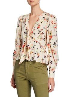 Veronica Beard Payton Floral Tie-Front Silk Blouse