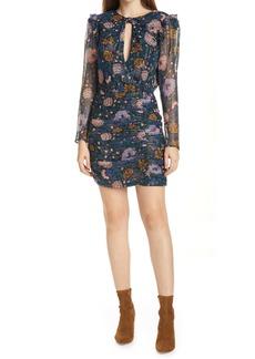 Veronica Beard Peppa Floral Long Sleeve Silk Dress
