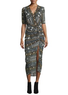 Veronica Beard Perla Multi-Printed Faux-Wrap Fitted Midi Dress