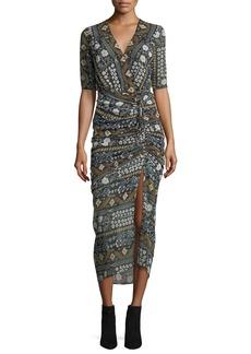 Veronica Beard Perla Multi-Printed Faux-Wrap Fitted Midi Dress