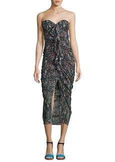 Peyton Strapless Ruched Silk Cocktail Dress