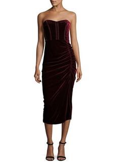 Veronica Beard Plaza Strapless Velvet Midi Dress