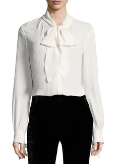Veronica Beard Presley Bow Long-Sleeve Button-Front Blouse