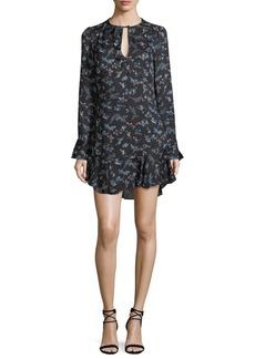 Veronica Beard Preston Long-Sleeve Floral-Print Silk Dress