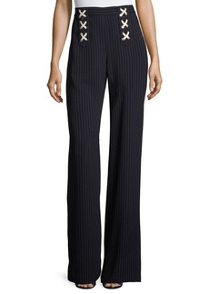 Veronica Beard Quinn Striped Lace-Up Wide-Leg Pants