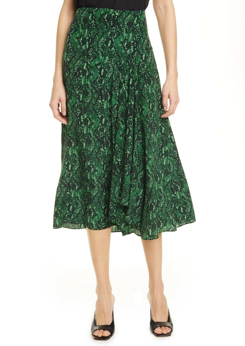 Veronica Beard Ramos Snake Print Silk Midi Skirt