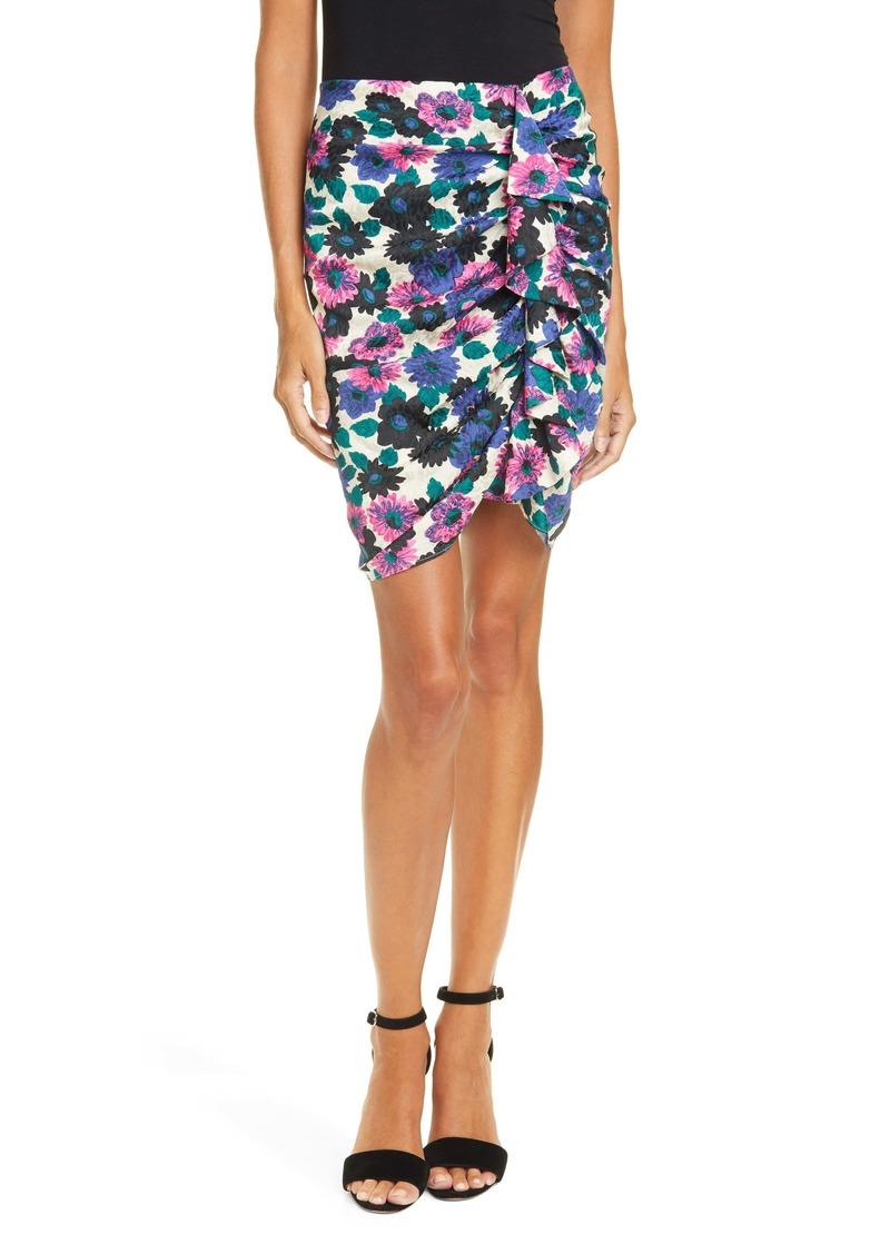 Veronica Beard Ravello Floral Jacquard Ruched Stretch Silk Skirt