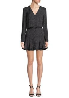Veronica Beard Riggins Button-Front Flounce Mini Dress