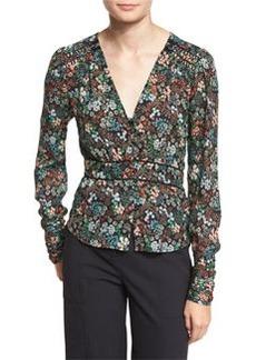 Veronica Beard Ripley Ruched Floral Silk Boho Blouse