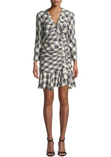 Veronica Beard Rowe Button-Front Ruched Check Mini Dress